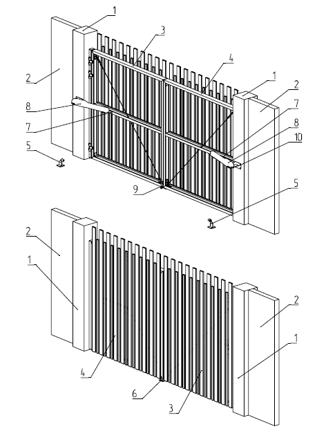 Рассмотрим конструкцию распашных ворот АЛЮТЕХ